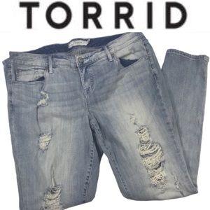 Torrid distressed washed skinny jeans